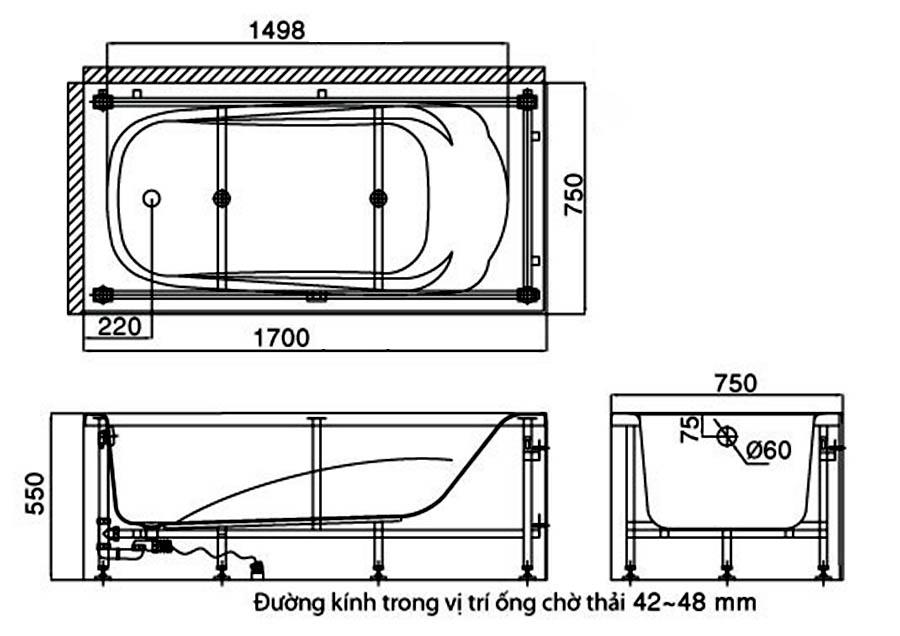 Kích thước bồn tắm yếm trái phải Inax FBV-1502SL