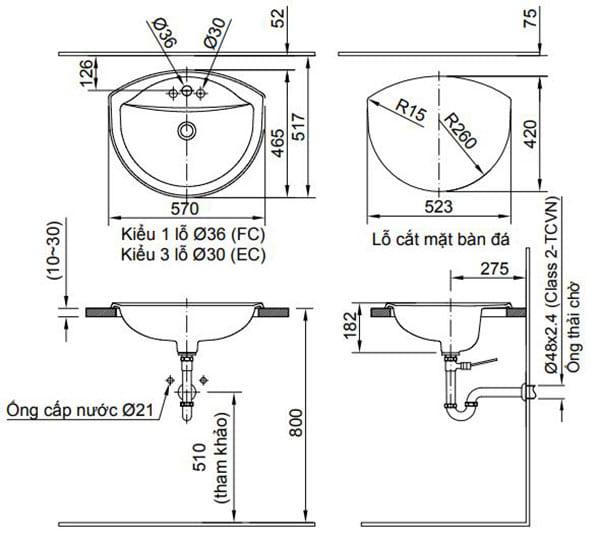 Kích thước chậu rửa Lavabo dương vành Inax AL-2396V (EC/FC)
