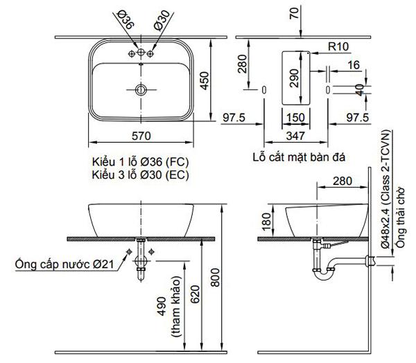 Kích thước chậu rửa đặt bàn Lavabo Inax AL-296V (EC/FC)
