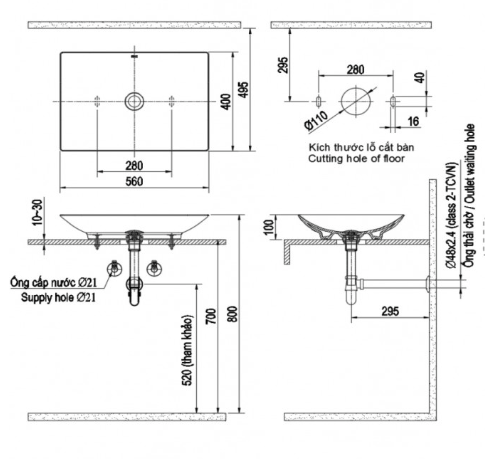 Kích thước chậu rửa đặt bàn Lavabo Inax AL-S610V