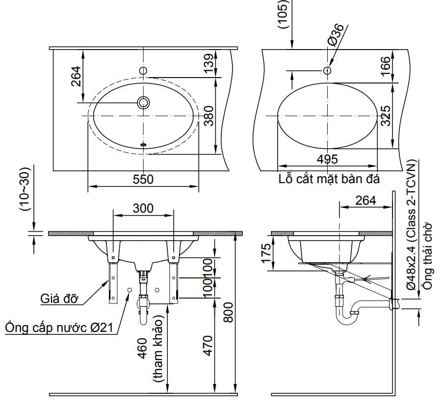 Kích thước chậu rửa Lavabo âm bàn Inax AL-2216V