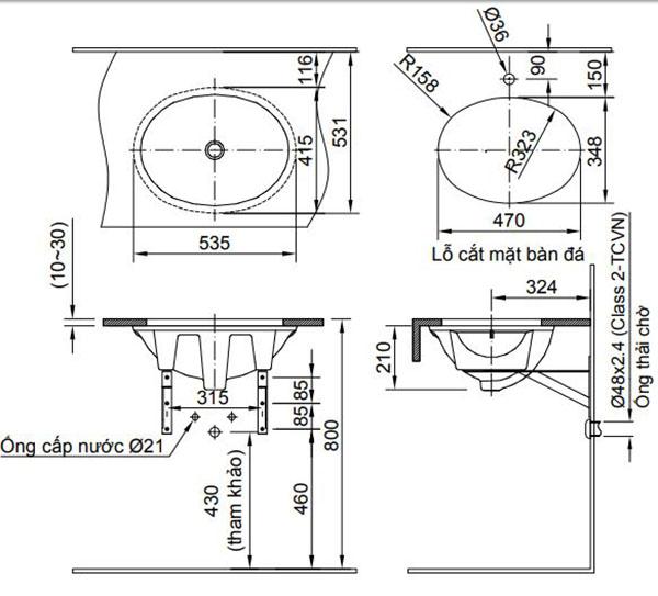Kích thước chậu rửa Lavabo âm bàn Inax AL-2293V