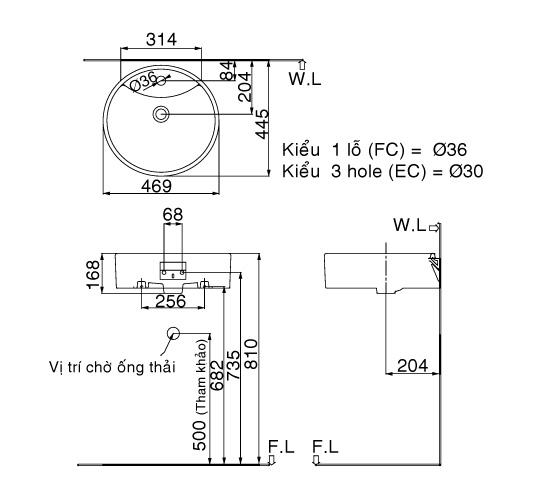 Kích thước chậu rửa đặt bàn Lavabo Inax AL-292V (FC/EC)