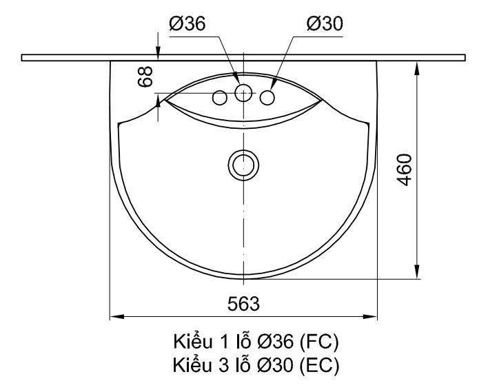 Kích thước chậu rửa treo tường Lavabo Inax L-288V(EC/FC)