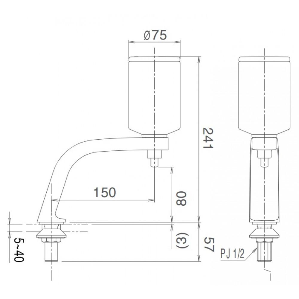 Kích thước hộp xà phòng nước gắn chậu Inax KF-24 (FL) công nghệ Nhật Bản