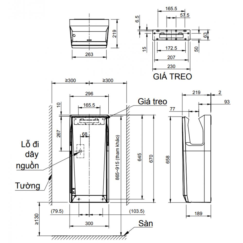 Kích thước máy sấy tay Inax cao cấp JT-SB216KSN-W-E