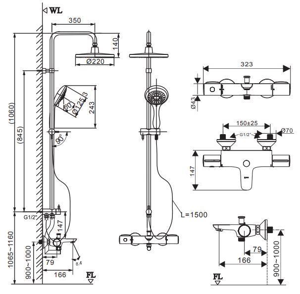 Kích thước sen cây nhiệt tự động Inax BFV-3415T