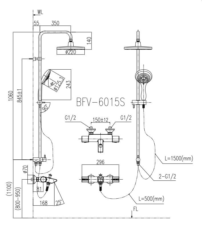 Kích thước sen cây nhiệt tự động Inax BFV-6015S