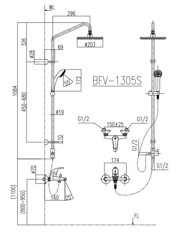 Kích thước sen cây tắm nóng lạnh Inax BFV-1305S