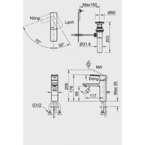 Kích thước vòi chậu nóng lạnh Lavabo Inax LFV-5012S