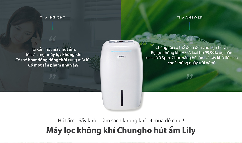 Máy lọc không khí ChungHo CHDH-120JA (có tính năng hút ẩm - LILY)