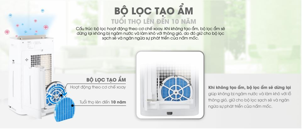 Tính năng của máy lọc không khí và tạo ẩm Sharp KC-G60EV-W