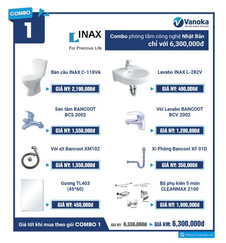Combo Inax 1: Combo phòng tắm công nghệ Nhật Bản chỉ với 6,300,000 đ thumbnail