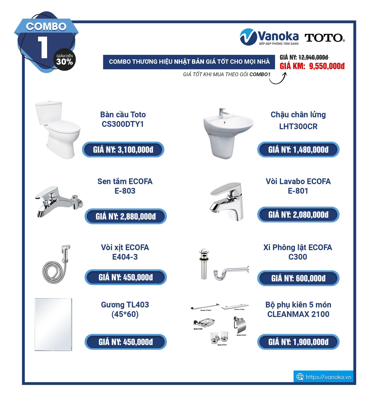 Combo 1 - khuyến mại thiết bị phòng tắm TOTO 2020