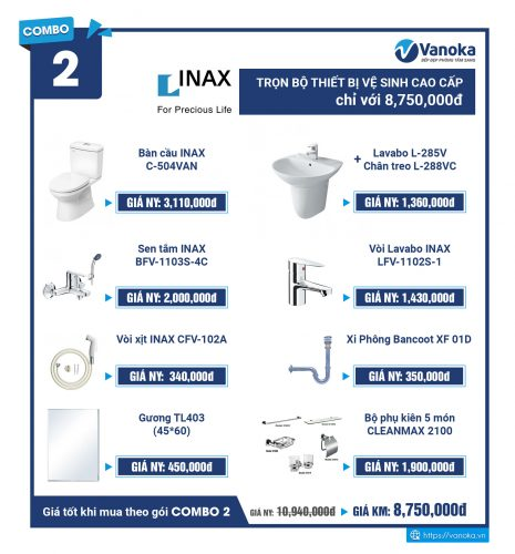Combo Inax 2: Trọn bộ thiết bị vệ sinh cao cấp chỉ với 8,750,000 đ thumbnail
