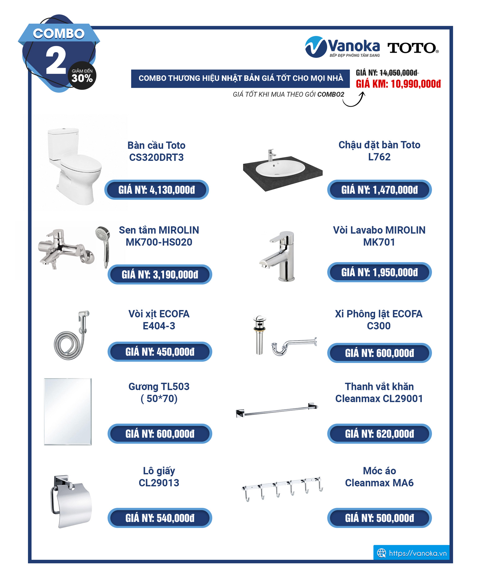 Combo 2 - khuyến mại thiết bị phòng tắm TOTO 2020