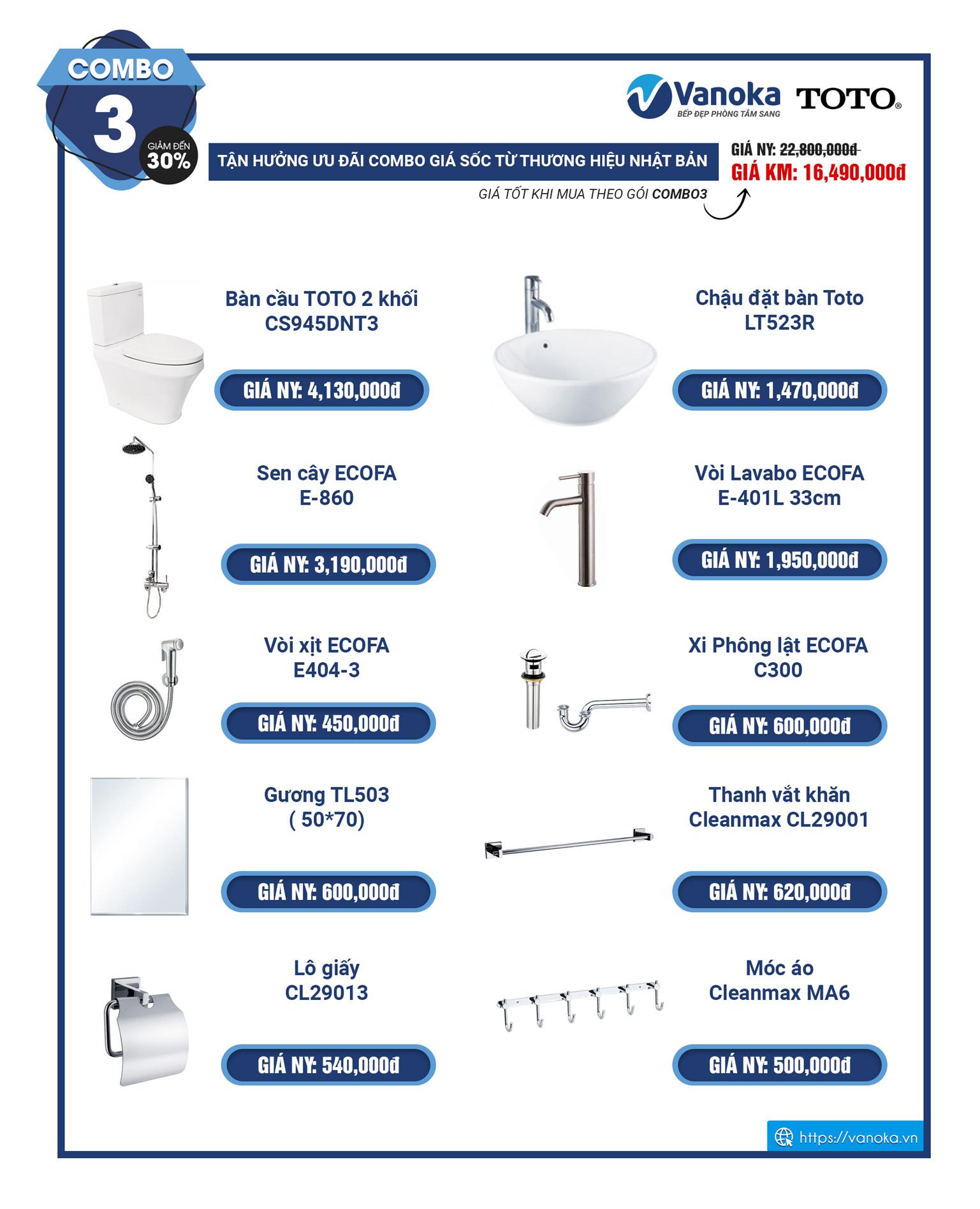 Combo 3 - khuyến mại thiết bị phòng tắm TOTO 2020