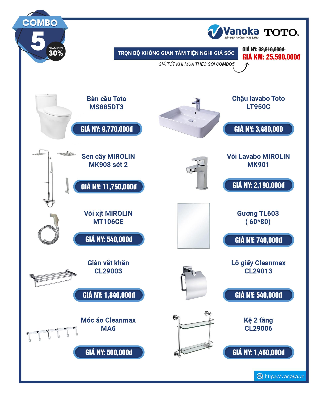 Combo 5 - khuyến mại thiết bị phòng tắm TOTO 2020