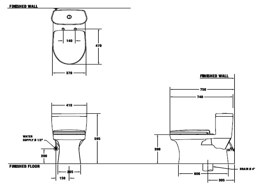 Thông số kỹ thuật Bồn cầu 1 khối COTTO C1015