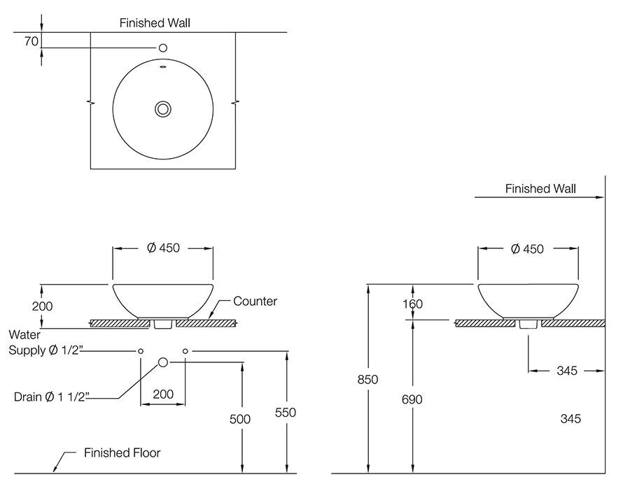 Thông số kỹ thuật Chậu đặt trên bàn COTTO C0015 - Honey