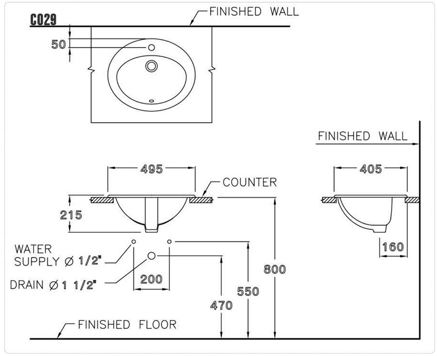 Thông số kỹ thuật Chậu rửa đặt dương vành Cotto C029 - Lisa