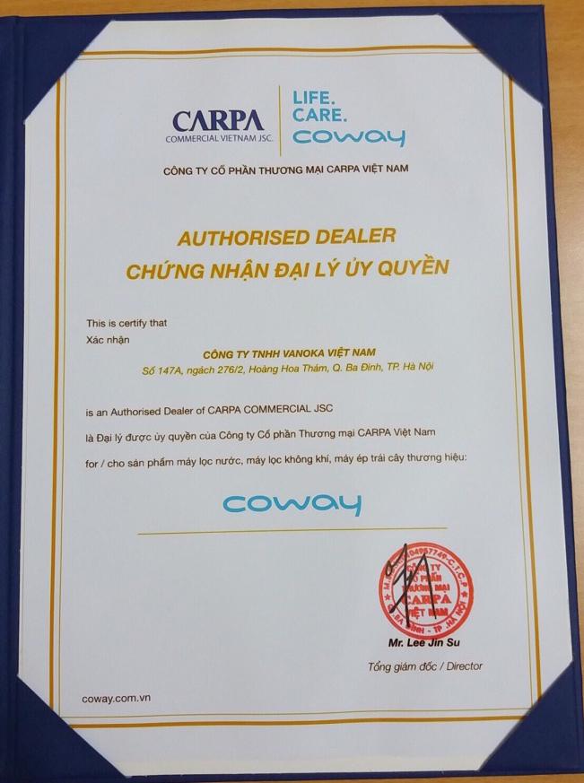 Giấy chứng nhận: Công ty TNHH Vanoka Việt Nam là đại lý uỷ quyền của Coway