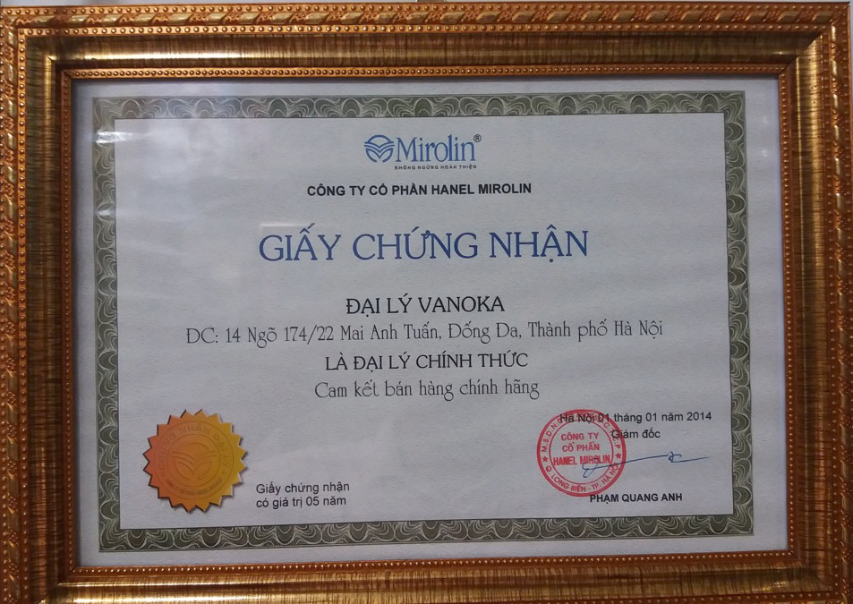 Giấy chứng nhận: Vanoka Việt Nam là đại lý chính thức cung cấp hàng chính hãng Mirolin