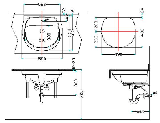 Thông số kỹ thuật Chậu rửa lavabo âm bàn Inax GL-2094V
