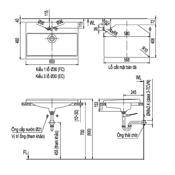 Thông số kỹ thuật Chậu rửa Lavabo âm bàn INAX L-2397V