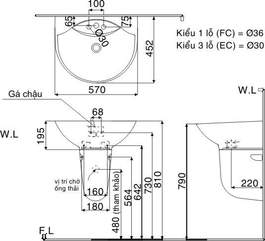 Kích thước chậu lavabo chân lửng Inax L-288V + L-288VC