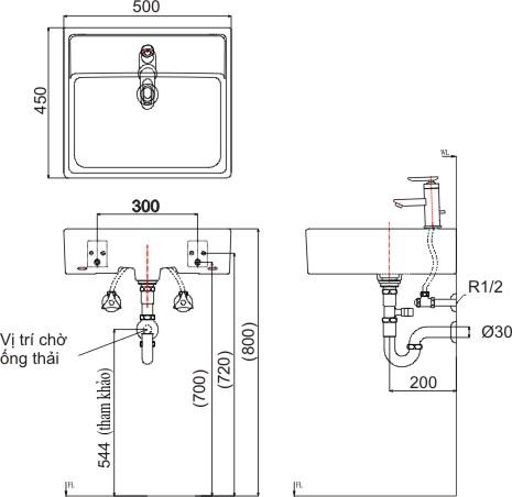 Thông số kỹ thuật Chậu lavabo đặt bàn Inax L-293V