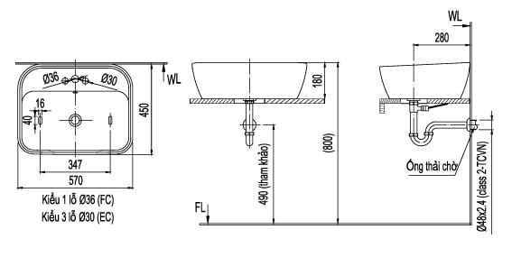 Thông số kỹ thuật Chậu lavabo đặt bàn Inax L-296V