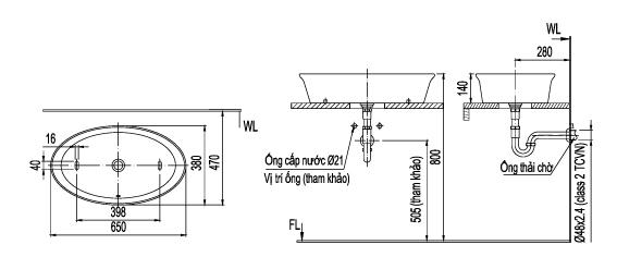 Thông số kỹ thuật Chậu lavabo đặt bàn Inax L-300V