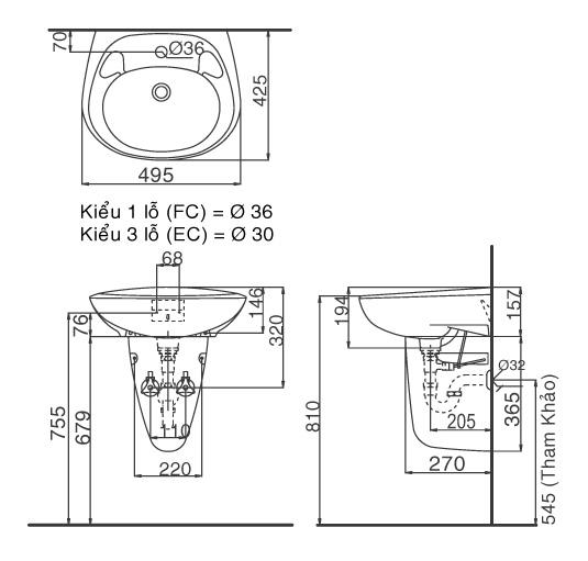 Thông số kỹ thuật Chậu treo tường chân lửng Inax L-284V + L-284VC
