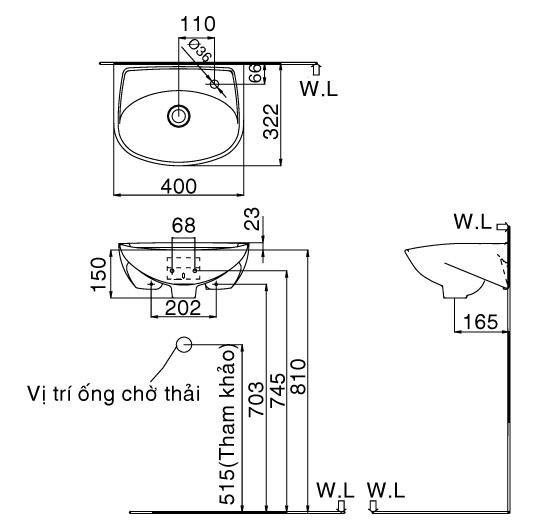 Thông số kỹ thuật Chậu rửa lavabo treo tường INAX L-280V