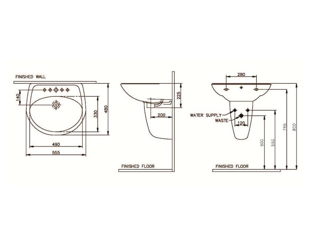 Thông số kỹ thuật Lavabo treo tường DERBY Nahm NM-5106-SS/WT (SVW2100565XN01) (LARGE)