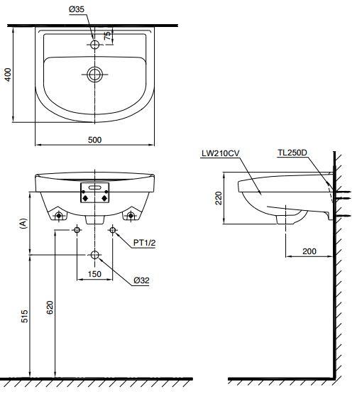 Thông số kỹ thuật Chậu rửa treo tường TOTO LT210CT