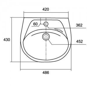 Thông số kỹ thuật Chậu rửa lavabo treo tường Viglacera VTL3
