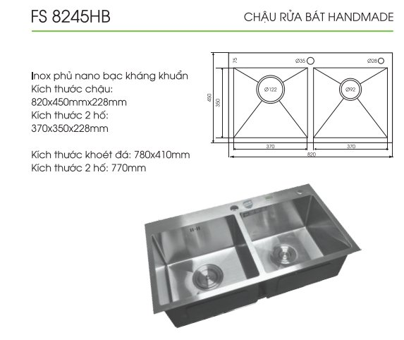 chau-rua-bat-fs-8245HB-thong-so-ki-thuat