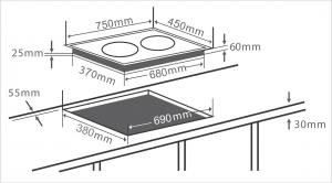 Bản vẽ kỹ thuật bếp từ Chefs EH-DIH888P công nghệ Inverter