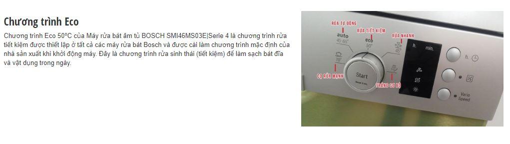 Chương trình ECO 50 độ C của máy rửa bát BOSCH SMI46MS03E