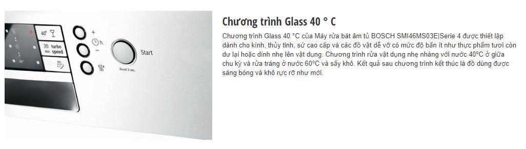 Chương trình Glass 40 độ C của máy rửa bát BOSCH SMI46MS03E
