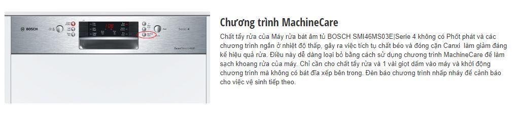 Chương trình MachineCare của máy rửa bát BOSCH SMI46MS03E