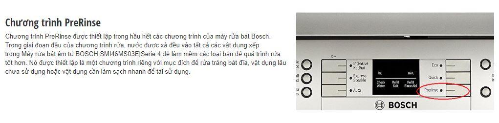 Chương trình Prerinse của máy rửa bát BOSCH SMI46MS03E