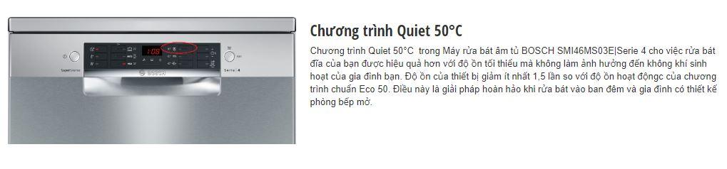 Chương trình Quiet 50 độ C của máy rửa bát BOSCH SMI46MS03E