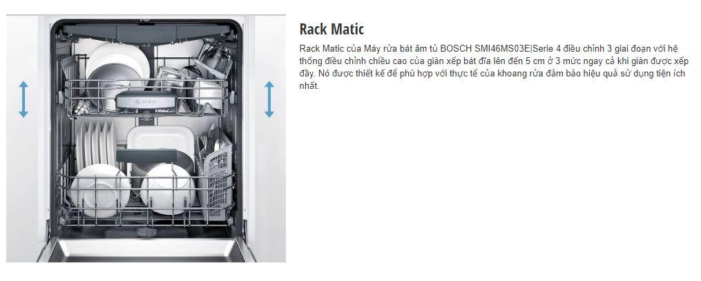 Chương trình Rack Matic của máy rửa bát BOSCH SMI46MS03E