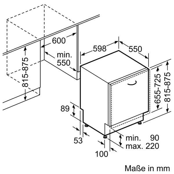 Kích thước của máy rửa bát BOSCH SMV88TX36E âm tủ