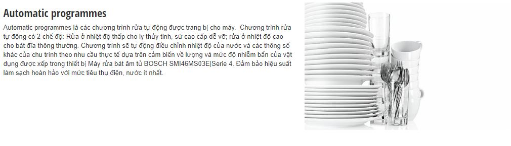 Tính năng Automatic programmes của máy rửa bát BOSCH SMI46MS03E
