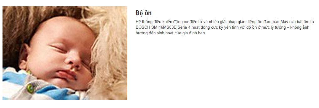 Tính năng chống ồn của máy rửa bát BOSCH SMI46MS03E