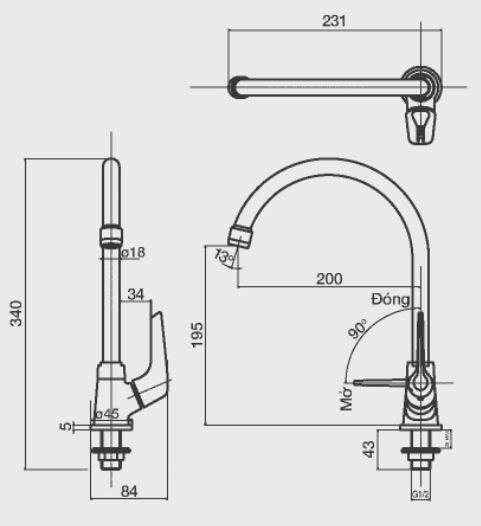 Kích thước vòi rửa bát Inax SFV-17